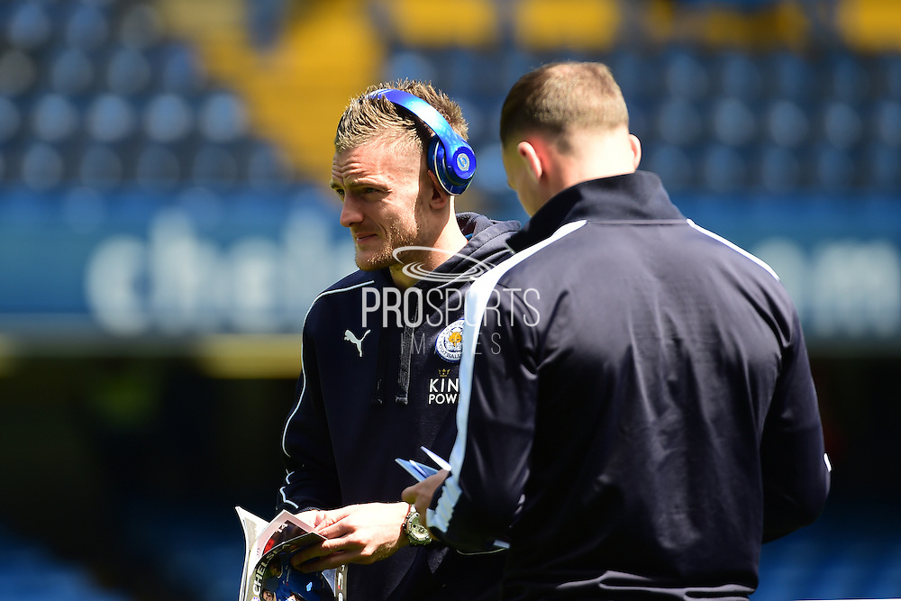 Leicester City Forward Jamie Vardy (9) before the Barclays Premier League match between Chelsea and Leicester City at Stamford Bridge, London, England on 15 May 2016. Photo by Jon Bromley.
