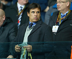 SWANSEA, WALES - Thursday, February 20, 2014: Wales manager Chris Coleman watches Swansea City in action against SSC Napoli during the UEFA Europa League Round of 32 1st Leg match at the Liberty Stadium. (Pic by David Rawcliffe/Propaganda)