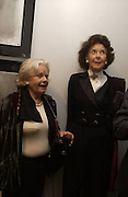 Marigold Johnson Mrs. Paul Johnson)  and Lady Egrement, Matthew Carr exhibition opening, Marlborough Fine Art, 25 November 2003. © Copyright Photograph by Dafydd Jones 66 Stockwell Park Rd. London SW9 0DA Tel 020 7733 0108 www.dafjones.com