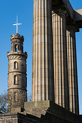 Nelson Monument and National Monument of Scotland on right on Calton Hill, Edinburgh, Scotland, UK
