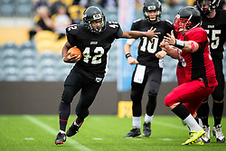 Kent Exiles  running back in action - Mandatory by-line: Jason Brown/JMP - 27/08/2016 - AMERICAN FOOTBALL - Sixways Stadium - Worcester, England - Kent Exiles v East Kilbride Pirates - BAFA Britbowl Finals Day