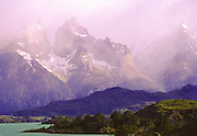 Storm over peaks of Torres del Paine National Park, Chile