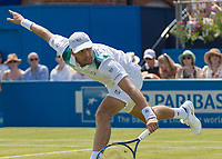 Tennis - 2017 Aegon Championships [Queen's Club Championship] - Day Three, Wednesday<br /> <br /> Men's Singles, Round of 16 - Gilles Muller (LUX) vs Jo-Wilfred Tsonga (Fra)<br /> <br /> Gilles Muller (LUX) stretches to returns with a drop shot at Queens Club<br /> <br /> COLORSPORT/DANIEL BEARHAM