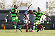 Joseph Mills, Liam McAlinden and Paul Digby during the EFL Sky Bet League 2 match between Forest Green Rovers and Cheltenham Town at the New Lawn, Forest Green, United Kingdom on 20 October 2018.