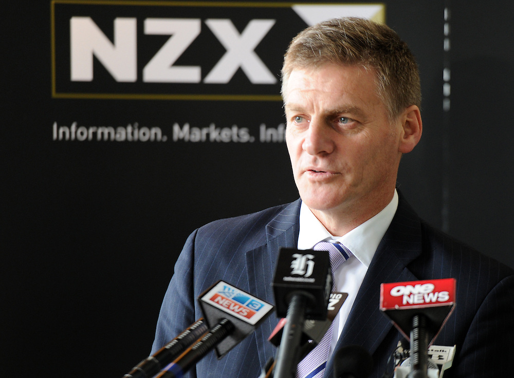 Minister of Finance Bill English speaks at the launch of Mighty River Power Shares on the NZX, Wellington, New Zealand, Friday, May 10, 2013. Credit:SNPA / Ross Setford
