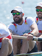 Brandenburg. GERMANY.<br /> GER M4-.  Maximilian PLANER , during their heat at the 2016 European Rowing Championships at the Regattastrecke Beetzsee<br /> <br /> Friday  06/05/2016<br /> <br /> [Mandatory Credit; Peter SPURRIER/Intersport-images]