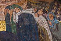 Mosaic on the facade of the Church of All Nations (Basilica of the Agony) at the bottom of the Mount of Olives, Jerusalem, Israel.