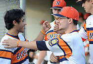 Northampton's  Anthony Zupito (left) is congratulated after scoring in the in the 5th inning by teammate C. J. Kilgariff (right) at Cairn University Tuesday July 14, 2015 in Langhorne, Pennsylvania.  (Photo by William Thomas Cain)