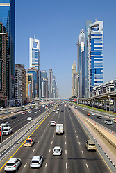 Skyline of skyscrapers along Sheikh Zayed road  in Dubai United Arab Emirates