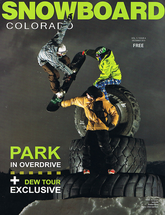 (L) AJ Szram, (T) Seth Hill, and (B) Braden Wahr on the cover of Snowboard Colorado.