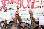 Roma 1 Ottobre 2011.Ora tocca a noi.Manifestazione nazionale di Sinistra, Ecologia, Libertà, a Piazza Navona.Licenziati dalla Croce Rossa.