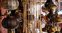Fancy goods for sale  in the medina, Marrakech, Morocco, North Africa<br /> <br /> (c) Andrew Wilson | Edinburgh Elite media