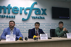 May 27, 2019 - Kyiv, Ukraine - Head of the campaign headquarters Oleksandr Korniienko, leader of the party Dmytro Razumkov and head of the party's digital division Mykhailo Fedorov (L to R) front a news conference on the start of the election campaign for the Sluha narodu (Servant of the People) Party ahead of the early parliamentary election scheduled for July 21, 2019, Kyiv, capital of Ukraine, May 27, 2019. Ukrinform. (Credit Image: © Ovsyannikova Yulia/Ukrinform via ZUMA Wire)