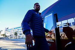 Daniel Edozie of Bristol Flyers arrives at Plymouth Pavilions prior to kick off - Photo mandatory by-line: Ryan Hiscott/JMP - 28/10/2018 - BASKETBALL - Plymouth Pavilions - Plymouth, England - Plymouth Raiders v Bristol Flyers - British Basketball Cup