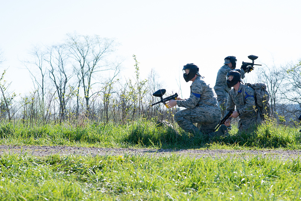 The blue team comes under fire during their mobile exercise on April 16, 2016. Photo by Ohio University / Kaitlynn Stone
