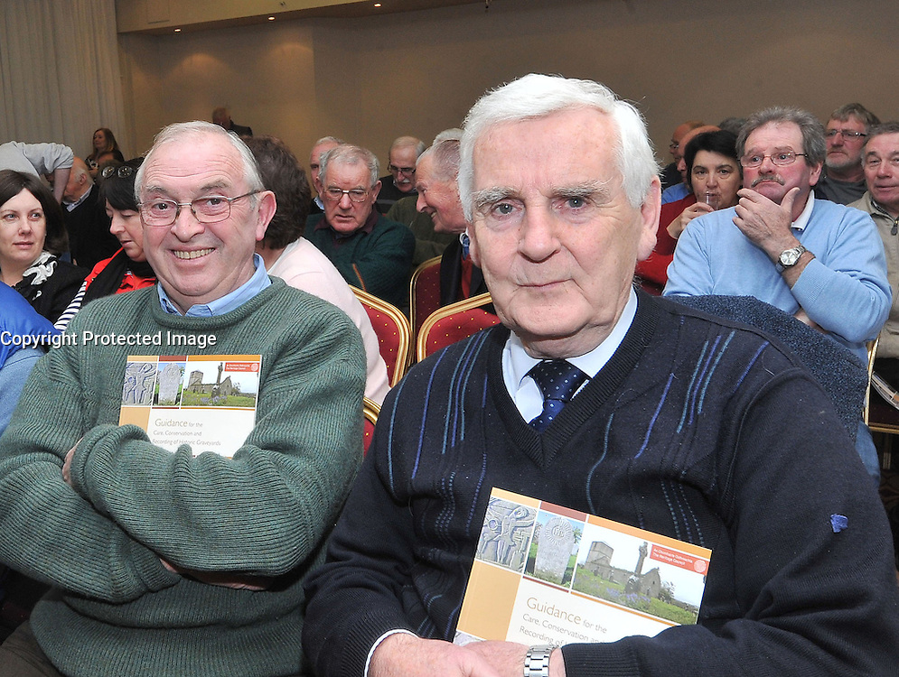 Mayo County Council's Heritage office recently held a seminar on the Care & Conservation of Historic Graveyards at the Harlequin Hotel Castlebar pictured at the seminar were Michael Murphy and Noel O'Neill.<br /> Pic Conor McKeown