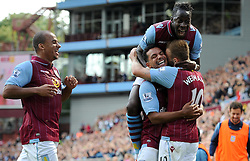 Aston Villa's Andreas Weimann celebrates his goal with Aston Villa's Kieran Richardson, Aston Villa's Gabriel Agbonlahor and Aston Villa's Aly Cissokho - Photo mandatory by-line: Joe Meredith/JMP - Mobile: 07966 386802 31/08/2014 - SPORT - FOOTBALL - Birmingham - Villa Park - Aston Villa v Hull City - Barclays Premier League
