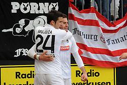 31.03.2012, Bayarena, Leverkusen, GER, 1. FBL, Bayer 04 Leverkusen vs SC Freiburg, 28. Spieltag, im Bild V.l.n.r. Mensur Mujdza jubelt mit Torschuetze Daniel Caligiuri ( beide SC Freiburg/ Action/ Aktion ) ueber das 0 : 2. // during the German Bundesliga Match, 28th Round between Bayer 04 Leverkusen and SC Freiburg at the Bayarena, Leverkusen, Germany on 2012/03/31. EXPA Pictures © 2012, PhotoCredit: EXPA/ Eibner/ Thomas Thienel..***** ATTENTION - OUT OF GER *****