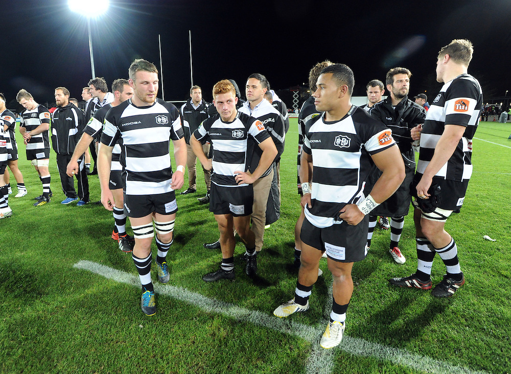 Hawkes Bay show their disappointment after their defeat to Tasman in the ITM Cup Championship Final at Trafalgar Park, Nelson, New Zealand, Friday, October 25, 2013. Credit:SNPA / Ross Setford