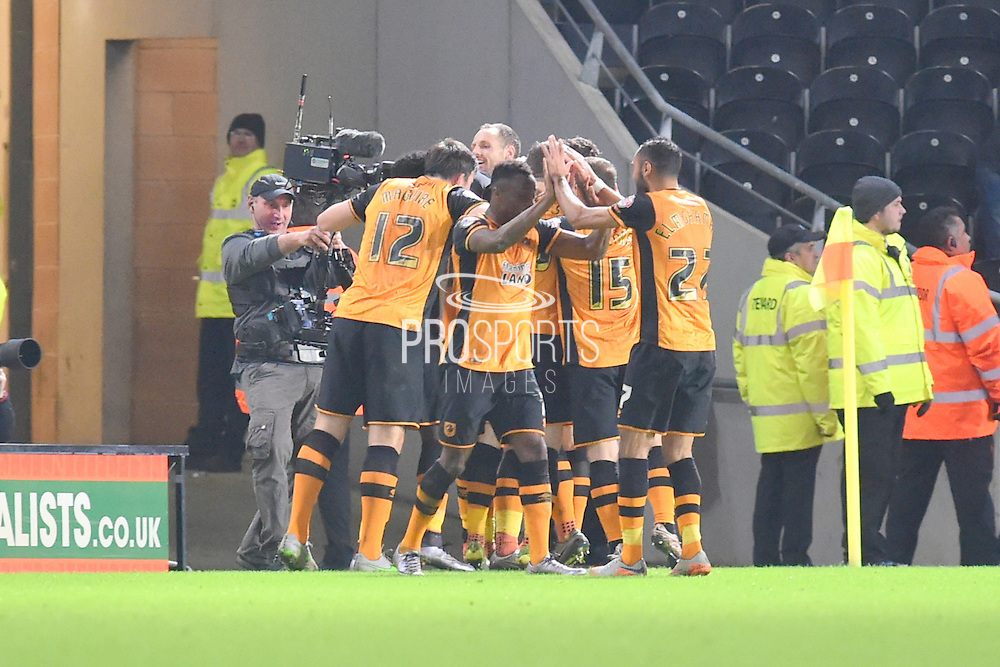 Hull City celebrate Jake Livermore of Hull City scoring to go 2-1 up during the Sky Bet Championship match between Hull City and Reading at the KC Stadium, Kingston upon Hull, England on 16 December 2015. Photo by Ian Lyall.