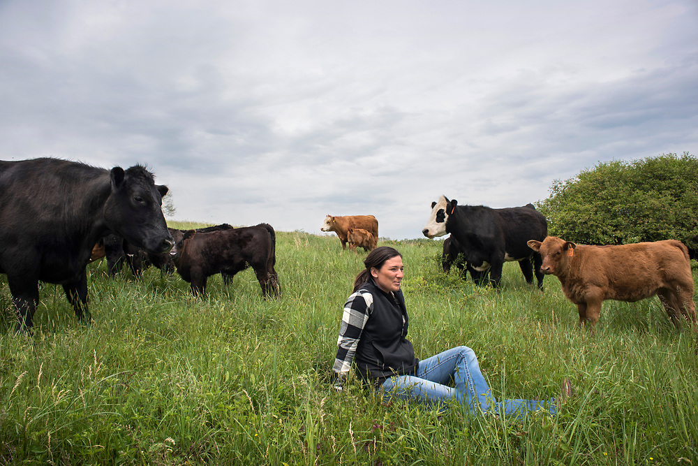 Jefferson Township, PA, May 4, 2017:  Pro golfer Rachel Rohanna enjoys a moment of relaxation among the beef cattle and their calves she raises with her husband in Greene County, PA. ( Martha Rial for espnW)