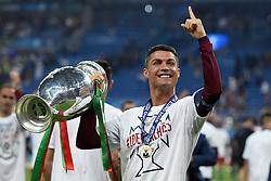 Cristiano Ronaldo of Portugal lift's the Henri Delaunay Trophy  - Mandatory by-line: Joe Meredith/JMP - 10/07/2016 - FOOTBALL - Stade de France - Saint-Denis, France - Portugal v France - UEFA European Championship Final