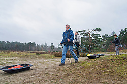 Toine, Cathelijne in training for the Camino 2020 at the Soesterduinen on March 08, 2020 in Soest, Netherlands