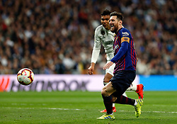 March 2, 2019 - Madrid, Spain - Real Madrid CF's Carlos H. Casemiro and FC Barcelona's Lionel Messi during La Liga match between Real Madrid and FC  Barcelona at Santiago Bernabéu in Madrid..Final Score: Real Madrid 0 - 1 FC Barcelona (Credit Image: © Manu Reino/SOPA Images via ZUMA Wire)