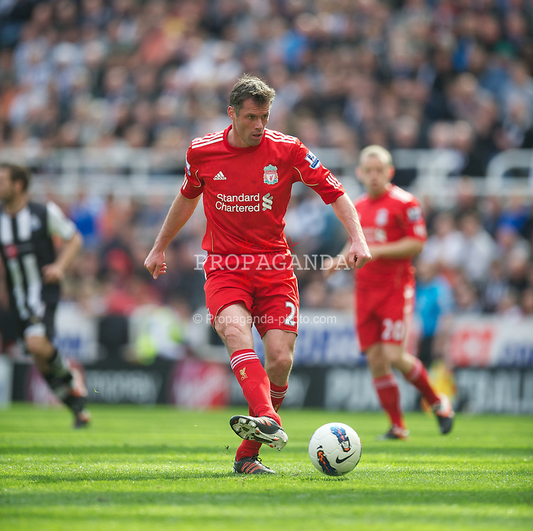 NEWCASTLE-UPON-TYNE, ENGLAND - Sunday, April 1, 2012: Liverpool's Jamie Carragher in action against Newcastle United during the Premiership match at St James' Park. (Pic by David Rawcliffe/Propaganda)