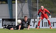 FODBOLD: Mickel Stumpe (Ballerup BK) header væk foran Kasper Bernth Sørensen under finalen i Seriepokalen mellem Hornbæk IF og Ballerup Boldklub den 20. maj 2019 på Brøndby Stadion. Foto: Claus Birch.