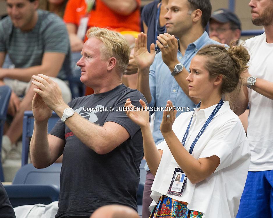 ANDY MURRAY TEAM,Ehefrau  Kim Murray und Mark Bender feuern an in der Spieler Loge,Emotion, <br /> <br /> Tennis - US Open 2016 - Grand Slam ITF / ATP / WTA -  USTA Billie Jean King National Tennis Center - New York - New York - USA  - 7 September 2016.
