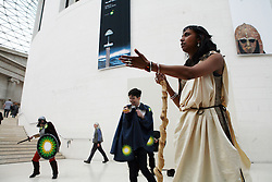 British Museum, London, 27/04/2014<br /> Actors dresssed as vikings stage a protest in the main hall of the British Museum. <br /> The Reclaim Shakespeare Company perform an impromptu civil protest, dressed as vikings, to protest against BP's sponsorship of the Vikings exhibition currently on at the British Museum. <br /> The company was formed in response to the sponsorship by petrol companies of the 2012 Olympics and of the general 'greenwash' sponsorship by oil companies of the Arts in Britain. <br /> Photo: Anna Branthwaite/LNP