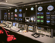 Architectural interior photograph of high tech company television operation