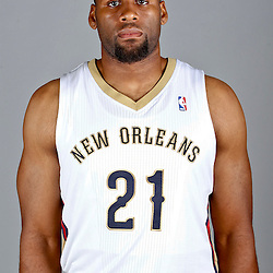 Sep 30, 2013; Metairie, LA, USA; New Orleans Pelicans forward Arinze Onuaku (21) poses for a portrait at Pelicans Practice Facility. Mandatory Credit: Derick E. Hingle-USA TODAY Sports