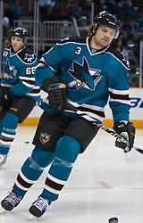 November 25, 2009; San Jose, CA, USA; San Jose Sharks defenseman Douglas Murray (3) before the game against the Chicago Blackhawks at HP Pavilion. Mandatory Credit: Jason O. Watson / US PRESSWIRE