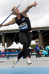adidas Grand Prix Diamond League professional track & field meet: womens javelin throw, Kimberley MICKLE, Australia