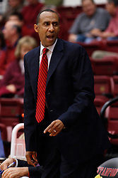 November 10, 2010; Stanford, CA, USA;  Stanford Cardinal head coach Johnny Dawkins on the bench during the second half against the Cal State Monterey Bay Otters at Maples Pavilion.  The Cardinal defeated the Otters 87-56.