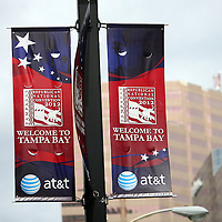 Welcome signs are seen on light posts during the Republican National Convention in Tampa, Fla. on Wednesday, August 29, 2012. (AP Photo/Alex Menendez)
