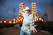 Bob Wade at his boots sculpture for Texas Co-op Power Magazine