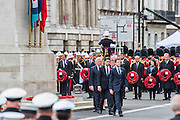 Senior politicicians including Nick Clegg and Ed Milliband after laying their wreaths. A commemoration in London to mark the Centenary of the Gallipoli Campaign 25 April 2015 at the Cenotaph on Whitehall, Westminster. Descendants of those who fought in the campaign also march past, led by military personnel, as part of the ceremony. This is an addition to the usual annual ceremony organized byvThe High Commissions of Australia and New Zealand.Guy Bell, 07771 786236, guy@gbphotos.com