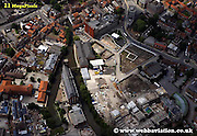 aerial photograph of Hungate York Yorkshire England UK   Drone style aerial view taken in York Great Britain
