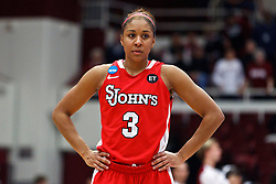 March 21, 2011; Stanford, CA, USA; St. John's Red Storm forward Da'Shena Stevens (3) before a free throw against the Stanford Cardinal during the first half of the second round of the 2011 NCAA women's basketball tournament at Maples Pavilion. Stanford defeated St. John's 75-49.