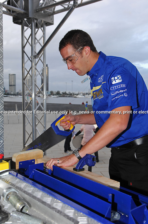Irwin Tools Ultimate Tradesman Challenge Launch .Waterfront City, Docklands, Melbourne, Victoria .8th of April 2010.(C) Joel Strickland Photographics.Use information: This image is intended for Editorial use only (e.g. news or commentary, print or electronic). Any commercial or promotional use requires additional clearance.
