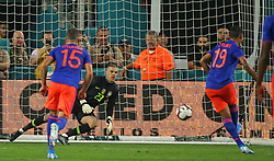 Brazil goalkeeper Ederson (23) is unable to stop a penalty shot by Colombia forward Luis Muriel (19) during the first half of an international friendly at Hard Rock Stadium in Miami Gardens, FL, USA on Friday, September 6, 2019. The game ended in a 2-2 draw. Photo by David Santiago/Miami Herald/TNS/ABACAPRESS.COM