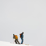 Petri Kurki and Kai Kantanen in Lónafjörður, Iceland.<br /> <br /> Images from an ski touring adventure to Jökulfirðir, a series of fjords in west Iceland, with Bergmenn Mountain Guides and Borea Adventures. The tour takes skiers from fjord to fjord with the sail boat Aurora as a overnight base.