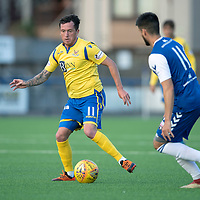 Montrose v St Johnstone….16.07.19      Links Park     Betfred Cup       <br />Danny Swanson is closed down by Lewis Milne<br />Picture by Graeme Hart. <br />Copyright Perthshire Picture Agency<br />Tel: 01738 623350  Mobile: 07990 594431