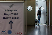 Sign showing the way to the Open air toilette at the Leipzig Trade Fair for the participants of the World Dog Show 2017. Over 31,000 dogs from 73 nations will come together from 8-12 November 2017 in Leipzig for the biggest dog show in the world.