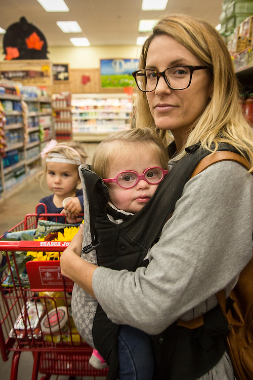 """I want to be an avocate for kids with special needs.""  -Crystal Eiser with daughters at Trader Joe's in Concord, CA."
