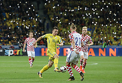 October 9, 2017 - Kiev, Ukraine - Yevhen Konoplyanka of Ukraine battles for the ball against Domagoj Vida and Ivan Rakitic of Croatia during the FIFA 2018 World Cup Group I Qualifier between Ukraine and Croatia at Kiev Olympic Stadium on October 9, 2017 in Kiev, Ukraine. Ukraine fail to reach the play-offs as they lose 2-0. (Credit Image: © Sergii Kharchenko/NurPhoto via ZUMA Press)