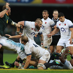 Joe Marler of England and Duane Vermeulen of South Africa off the ball during the 2018 Castle Lager Incoming Series 3rd Test match between South Africa and England at Newlands Rugby Stadium,Cape Town,South Africa. 23,06,2018 Photo by (Steve Haag JMP)